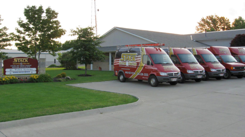Stack's office building with utility vans