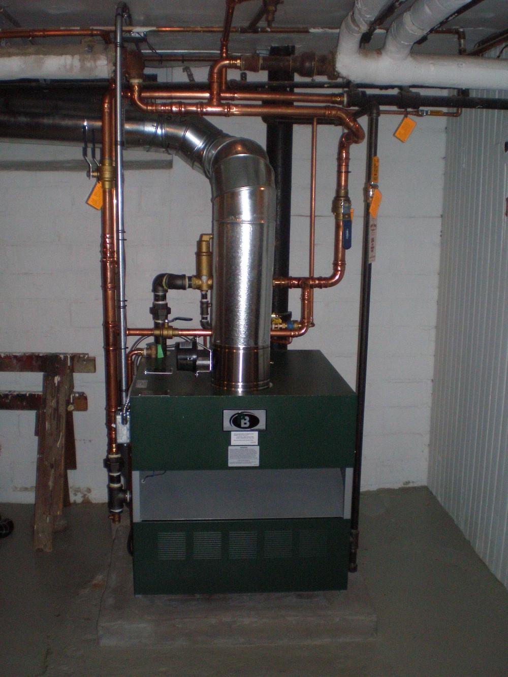 a boiler in a basement