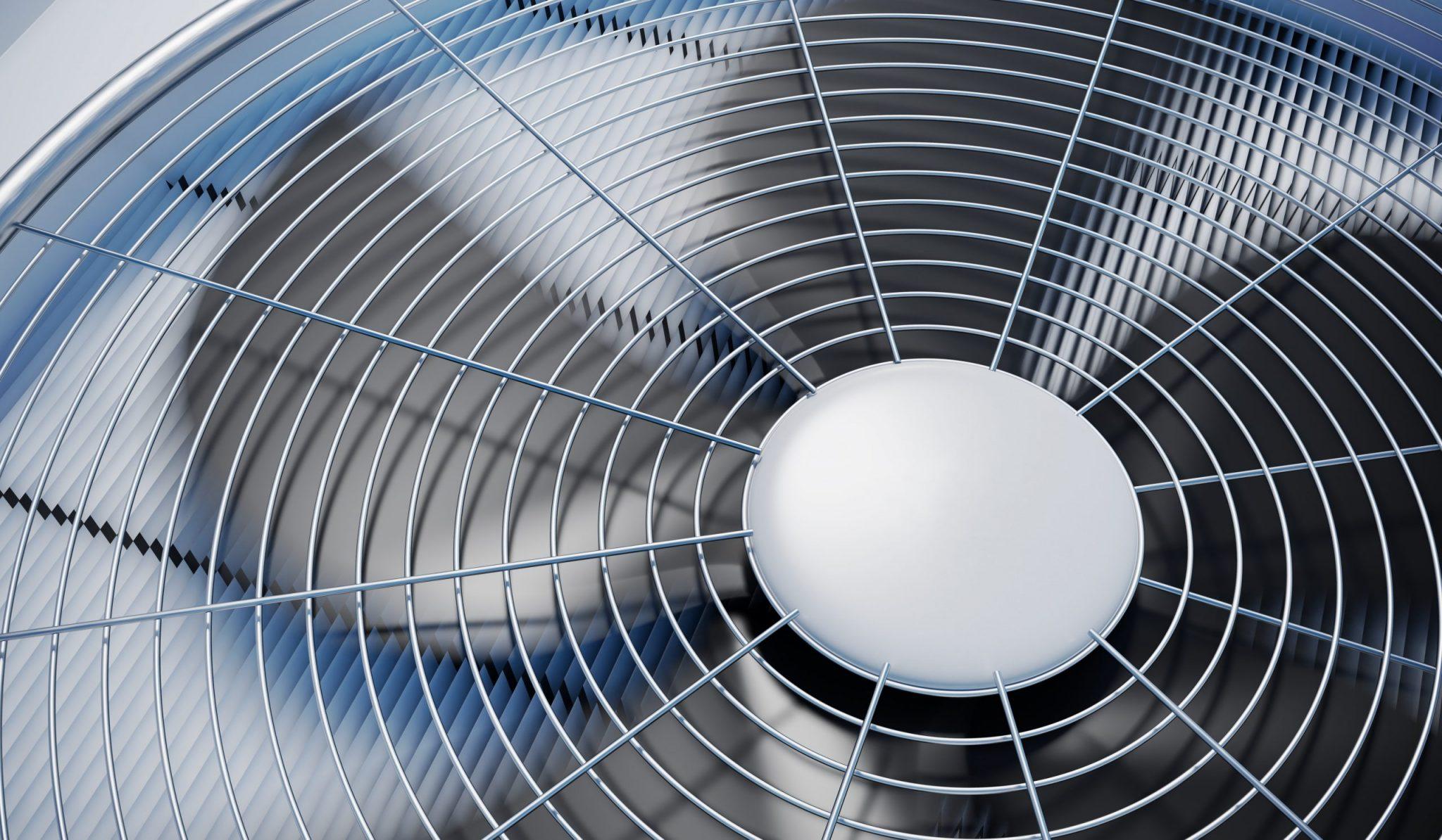Close up view on HVAC unit fan