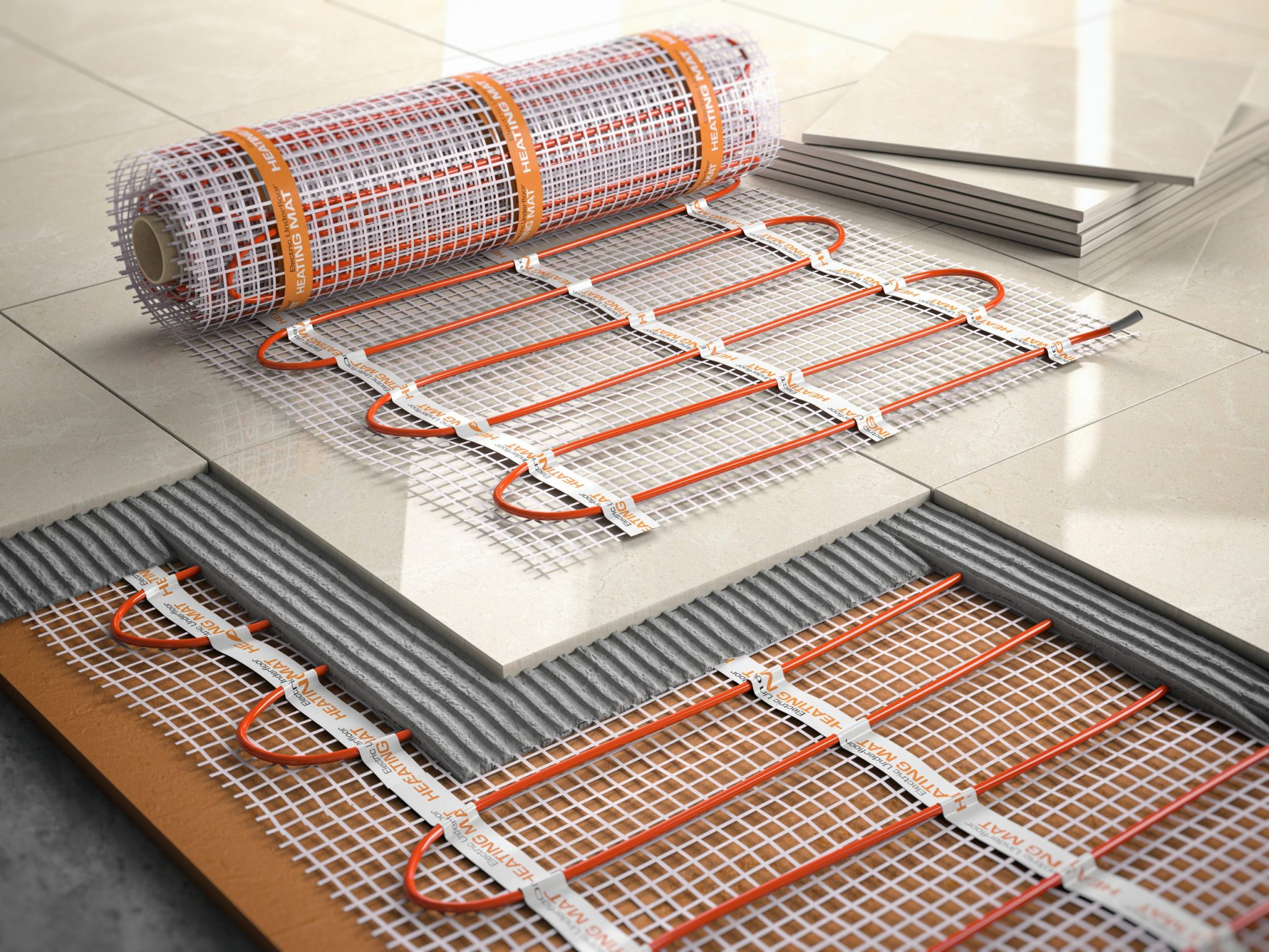 Underfloor heating installation with tiles pulled up