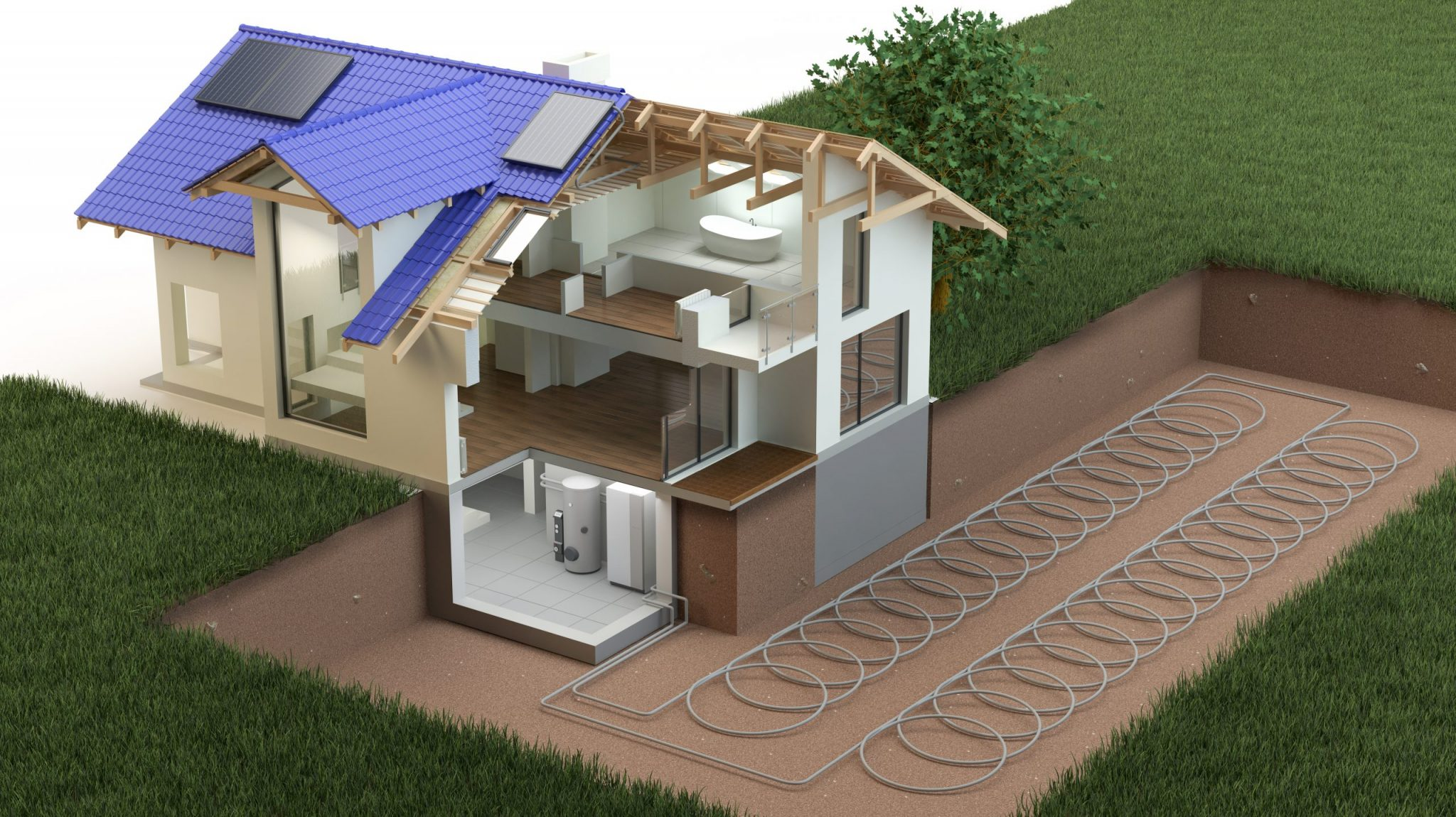 A graphic of a tan home with a blue roof in a yard with a tree and dark green grass, with a section of the yard showing the coiled pipes below that connect to a pump in the basement of the house.