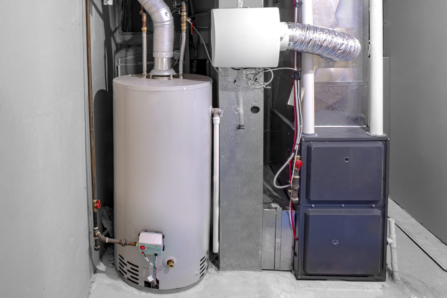 Home boiler and furnace set up in residential basement